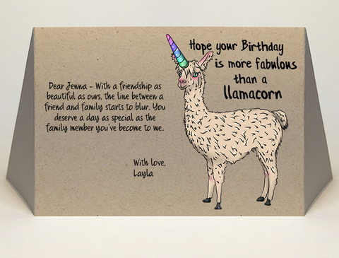 Llamacorn birthday card original greeting by CareGatto