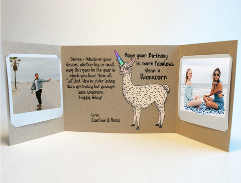 Llamacorn personalized birthday card