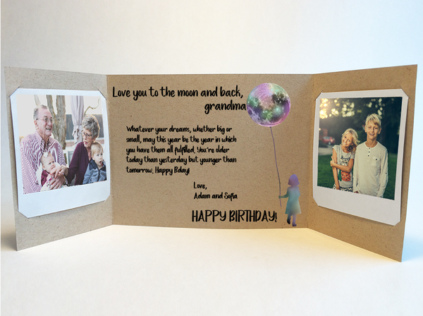 Moon Balloon Grandparent<br> Photo Greeting<br> (multiple options)