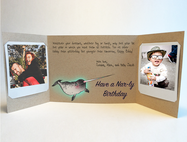 Narwhal Wishes<br> Birthday Card<br> Photo Greeting