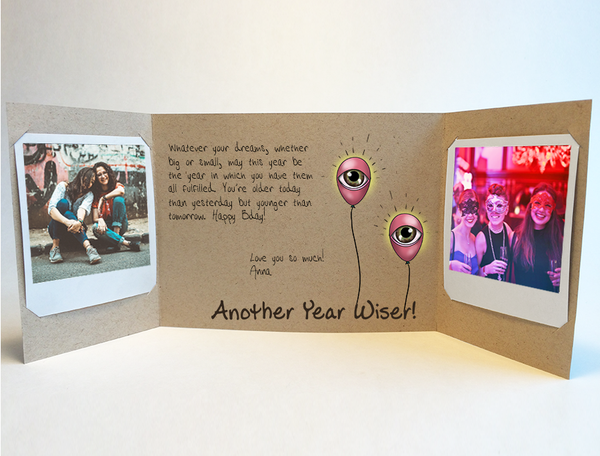 Send a personalized birthday card with photos by mail - Moon Balloon Birthday Card by CareGatto