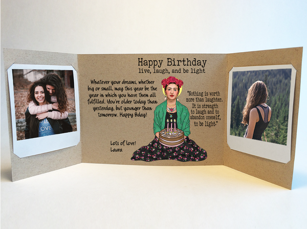 Send a personalized birthday card with photos by mail - Frida Kahlo Birthday Card by CareGatto