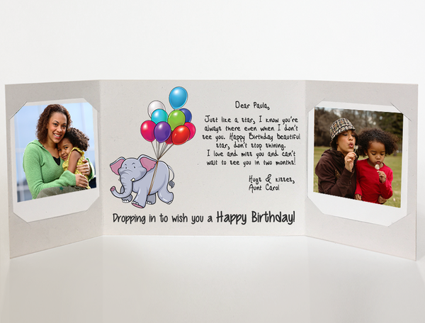 Dropping in<br> Birthday Card<br> Photo Greeting