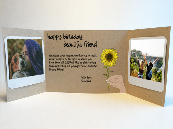 Send a personalized birthday card with photos by mail - Friend Birthday Card by CareGatto