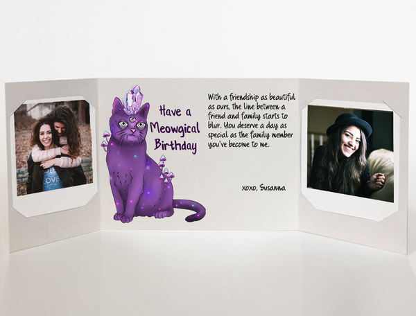 Send a personalized birthday card with photos by mail - Hipster Cat Meowgical Birthday Card by CareGatto