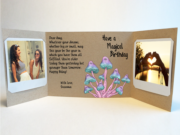 Send a personalized birthday card with photos by mail - Mushroom Birthday Card by CareGatto