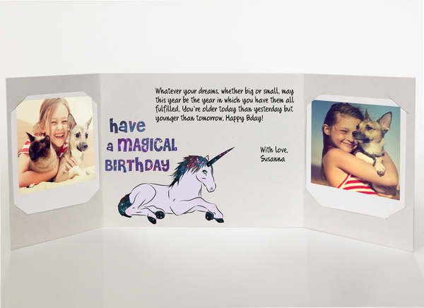 Send a personalized birthday card with photos by mail online - Unicorn Birthday Card by CareGatto