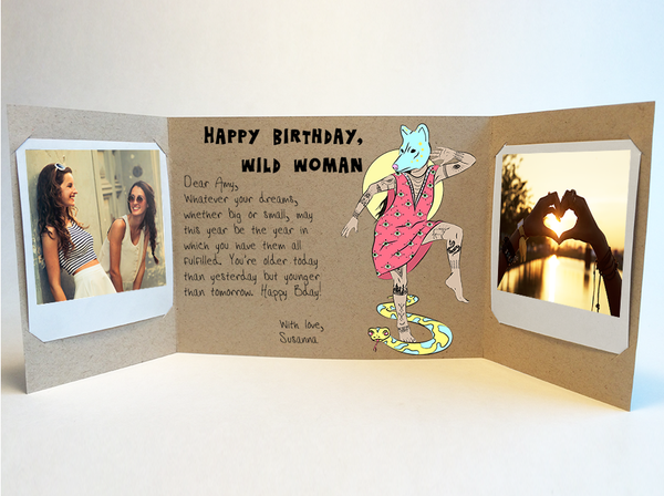 Send a personalized birthday card with photos by mail - Wild Woman by CareGatto
