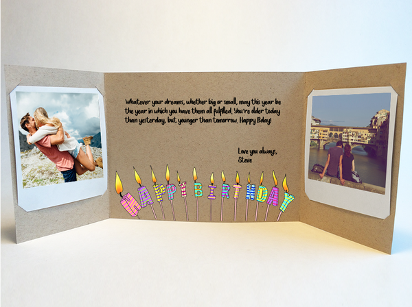 Birthday Candles<br> Birthday Card<br> Photo Greeting