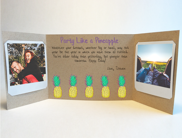 Send a personalized birthday card with photos by mail - Party like a Pineapple Birthday Card by CareGatto