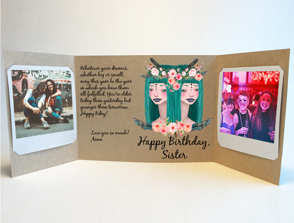 Beautiful Sister<br> Birthday Card<br> Photo Greeting