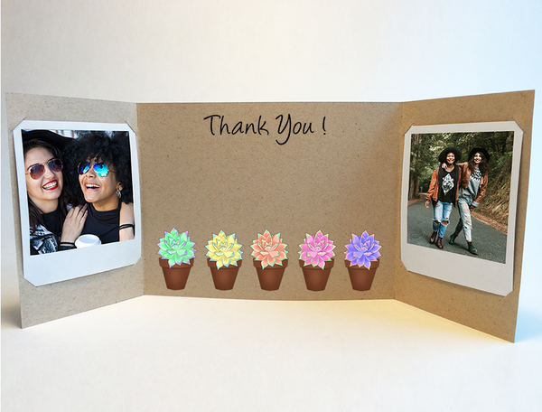 Colorful Succulents<br> Thank You Card<br> Photo Greeting
