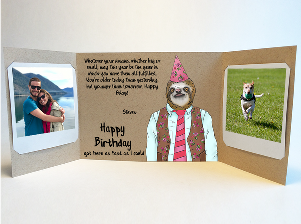 Send a personalized birthday card with photos by mail online - Sloth Humor Birthday Card by CareGatto