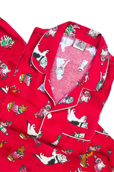 Red Happy Puppies Christmas Flannel PJ Set