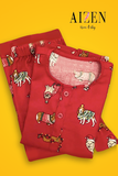 Red Puppy in Christmas Hats Flannel PJ Set - Kids