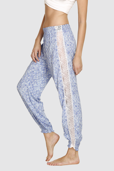 Stylish Blue Lace Joggers
