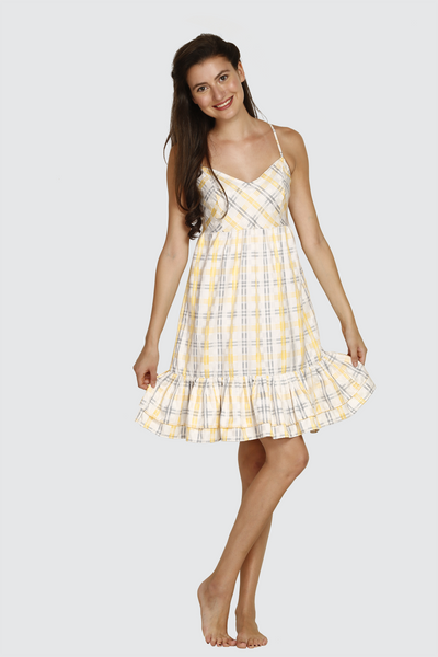 Yellow Checks Ruffles Dress