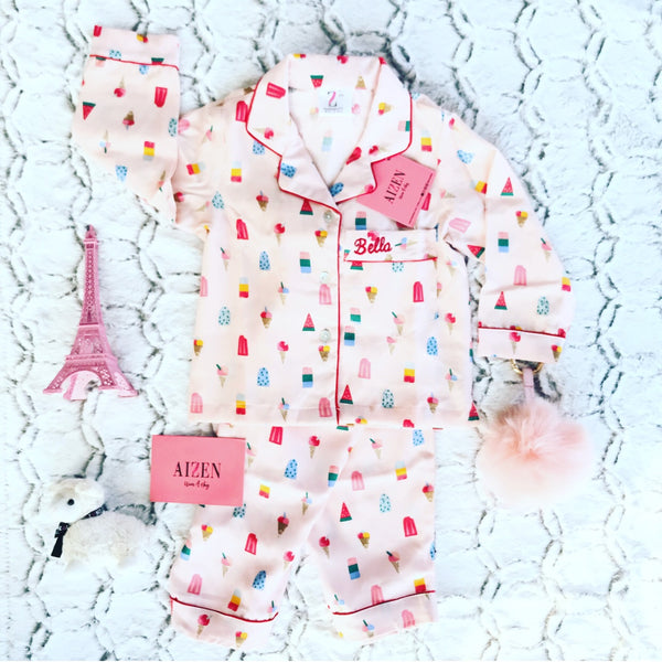 Ivory Popsicle PJ Set - Kids