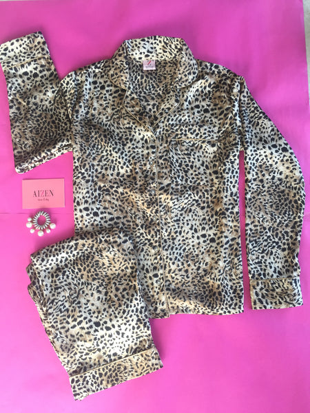 Leopard Satin Pyjama Set