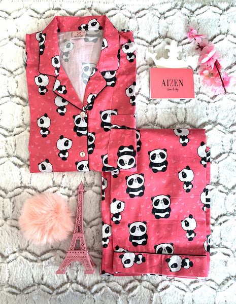 Happy Panda Hugs Pink PJ Set
