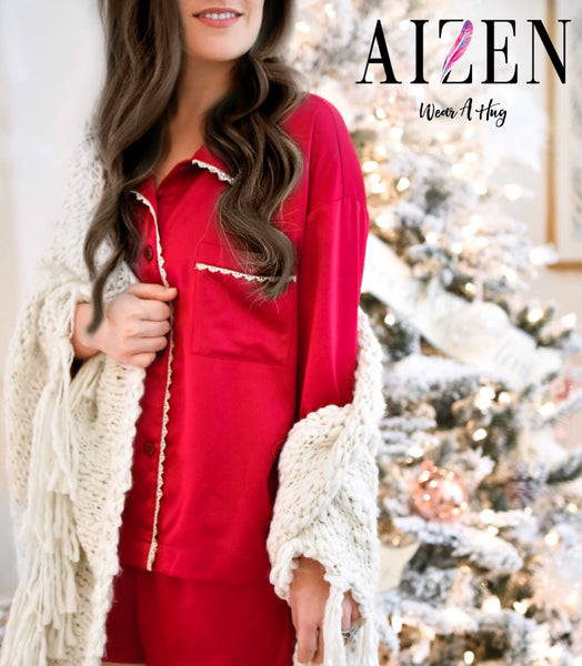 Red Christmas Satin Pyjama Set