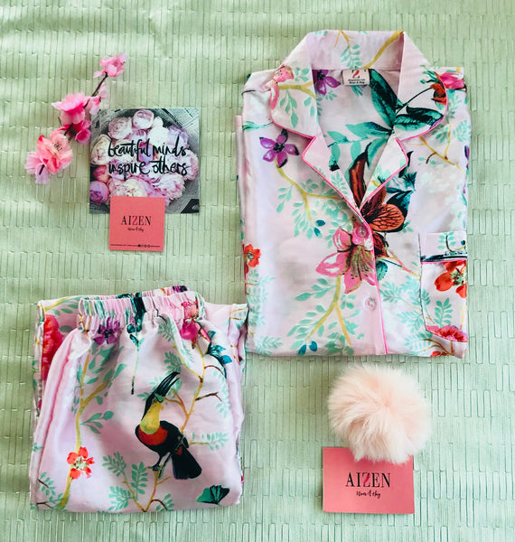 Romance with Florals Satin Pyjama Set