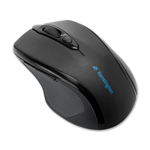 KENSINGTON PRO FIT OPTICAL WIRELESS MOUSE, SCROLL WHEEL - BLACK, MID SIZE