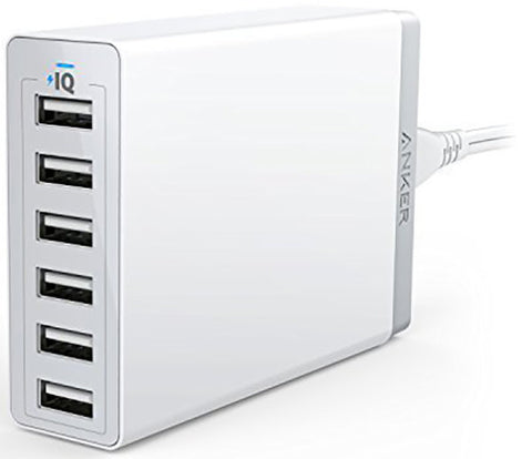 ANKER POWERPORT 60W 6 USB PORT WALL HUB WHITE