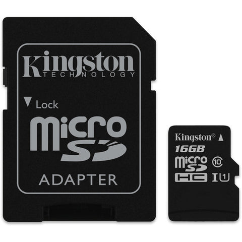 KINGSTON 16GB MICRO SDHC (CLASS 10), CANVAS SELECT 80R,UHS-I CARD + SD ADAPTER