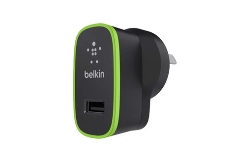 BELKIN BOOST IT UP 2.4A HOME CHARGER, USB(1), BLACK, 2YR WTY