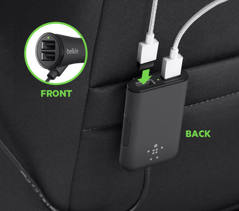 BELKIN 4 PORT CAR CHARGER, 1A USB-A(2), 2.4A USB-A(2), 2YR WTY