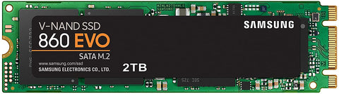 SSD 860 EVO - 2TB, Samsung V-NAND, M.2 (2280), SATA III 6GB/s, R/W(Max) 550MB/s/520MB/s, 98K/90K IOPS, 1,200TBW, 5 Years Warranty