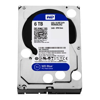 "WD BLUE INTERNAL 3.5"" DESKTOP  SATA DRIVE, 6TB, 6GB/S, 5400  RPM, 2YR"