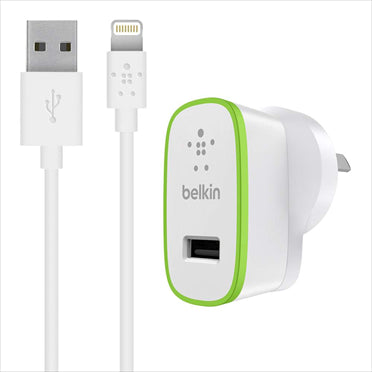 BELKIN BOOSTUP 2.4A WALL CHARGER (1) WITH  1.2M LIGHTNING CHARGE CABLE, WHITE, 1 YR WTY