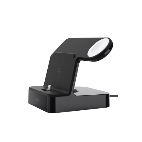 BELKIN POWERHOUSE CHARGE DOCK FOR APPLE WATCH & IPHIONE, BLACK, 2 YR WTY