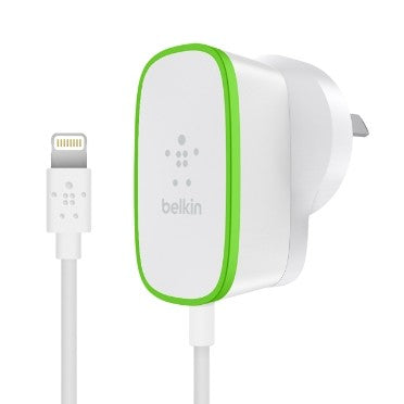 BELKIN BOOST UP 2.4A HOME CHARGER HARDWIRED LIGHTNING CABLE, 1.8M, 2YR WTY