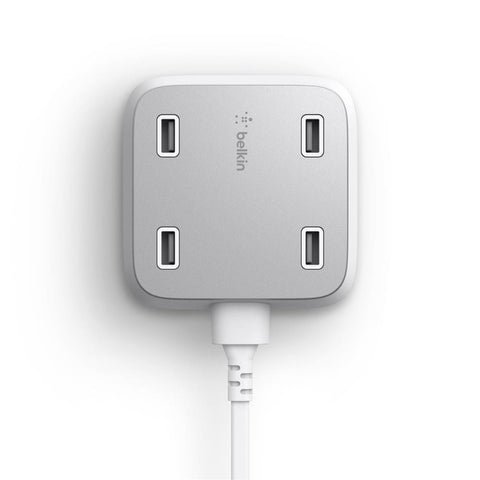 BELKIN 4 PORT 5.4A WALL CHARGER, USB PORT(4), WHITE, 2 YR WTY