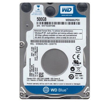 "WD BLUE INTERNAL 2.5"" MOBILE SATA DRIVE, 500GB, 6GB/S, 5400RPM, 2YR"