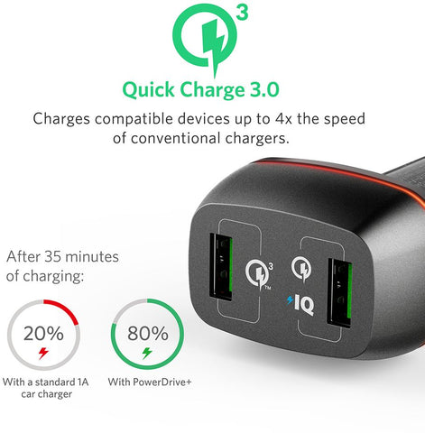 ANKER POWERDRIVE+ 2 QUICK CHARGE USB CAR ADAPTER BLACK