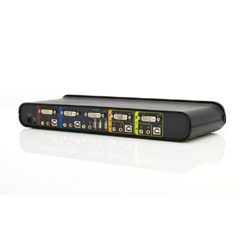 BELKIN 4-PORT DESKTOP KVM SWITCH, SUPPORTS 4 PC, DVI, USB HUB, INC CABLES, 3YR