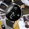 Black White Synthetic Leather Quartz Watch