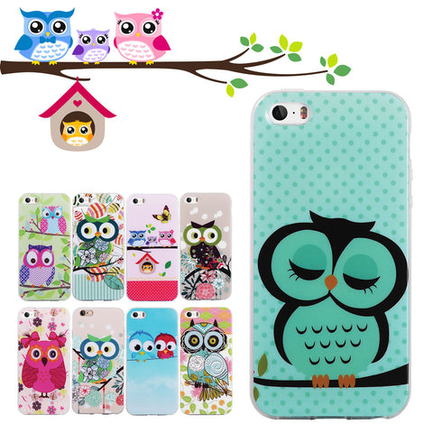 Cute Owls Silicone iPhone Case for iPhone 5S 5 SE 4 4S 6 6S 6 Plus 6S Plus 7 7 Plus