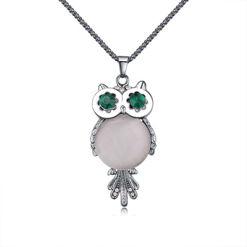 Rhinestone Owl Pendant Necklaces