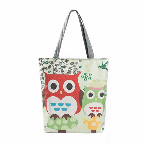Handbag Various Colors Owl or Elephant Printing