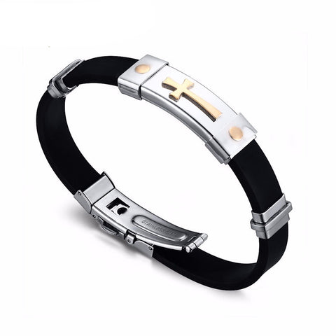 Stainless Steel Cross Black Silicone Bracelet