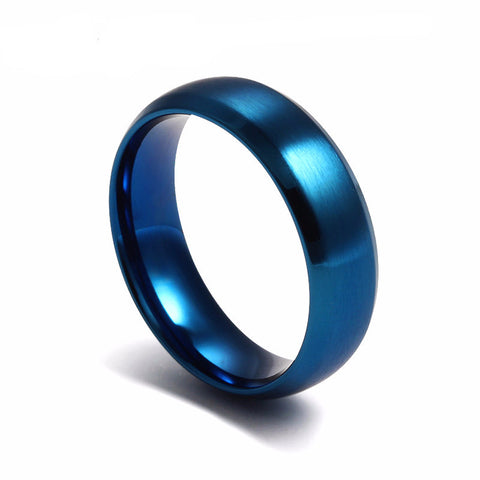 Simple Design Stainless Steel Blue Black Gold Plated Ring*