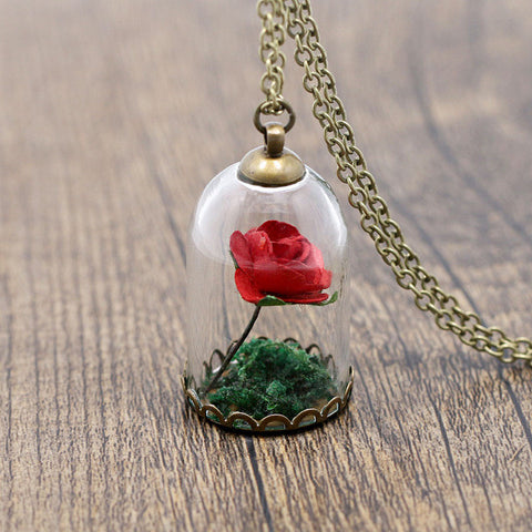 Various Colors Flower In The Glass Pendant Necklace