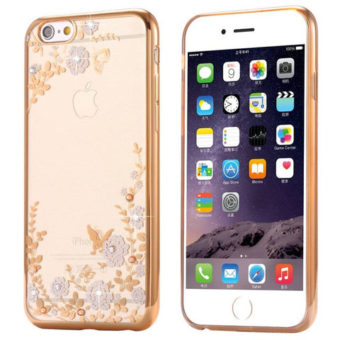 Rhinestone Rose iPhone Case For iPhone 7 6 6s Plus 5 5s SE & Samsung Case For Galaxy S6 S7 S8 Edge