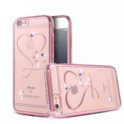 Lovely Transparent Rhinestone Case For iPhone 6 / 6S / 6 Plus / 6S Plus