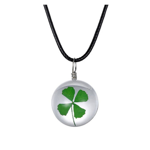 Four-Leaf Clover Pendant Faux Leather Necklace